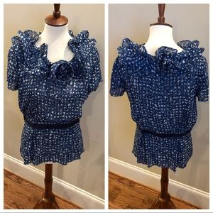 Oscar de la renta silk short sleeve blouse size 12